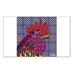 Psycho Rooster Rectangle Sticker
