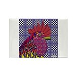 Psycho Rooster Rectangle Magnet