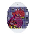 Psycho Rooster Oval Ornament