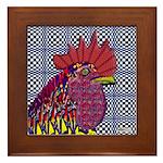 Psycho Rooster Framed Tile