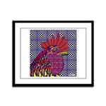 Psycho Rooster Framed Panel Print