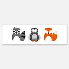 Raccoon, Owl and Fox Trio Bumper Car Car Sticker