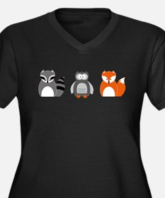 Raccoon, Owl and Fox Trio Plus Size T-Shirt