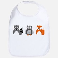 Raccoon, Owl and Fox Trio Bib