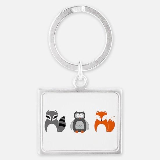 Raccoon, Owl and Fox Trio Keychains