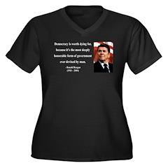 Ronald Reagan 15 Women's Plus Size V-Neck Dark T-S