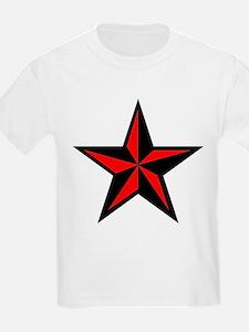 Red Punk Nautical Star Kids T-Shirt