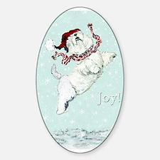 Westie Winter Terrier Oval Decal