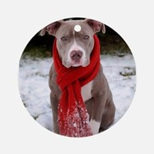Holiday Pit Bull Round Ornament