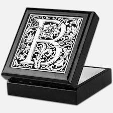 Elegant Vintage Flourish Letter B Mon Keepsake Box