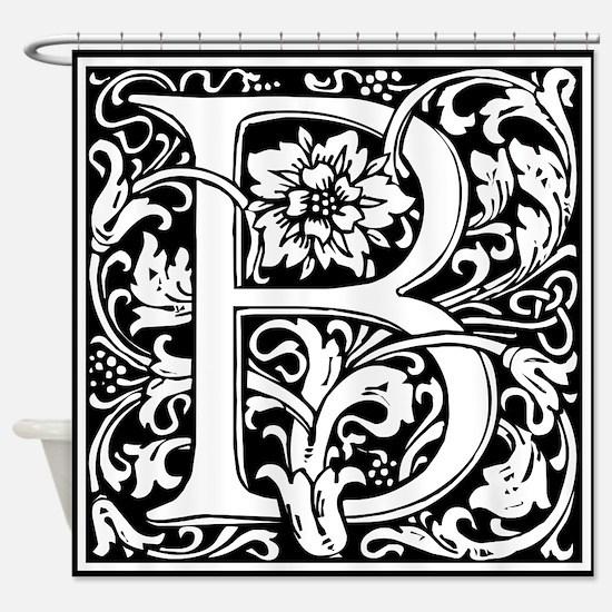 Elegant Vintage Flourish Letter B M Shower Curtain