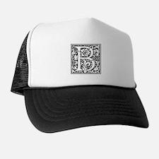 Elegant Vintage Flourish Letter B Mono Trucker Hat
