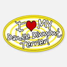 Hypno I Love My Dandie Dinmont Oval Sticker Ylw