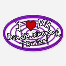 Hypno I Love My Dandie Dinmont Oval Sticker Purp