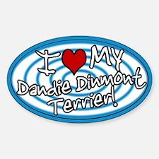 Hypno I Love My Dandie Dinmont Sticker Blue