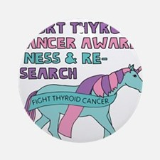 Unicorns Support Thyroid Cancer Awa Round Ornament
