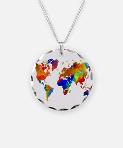 Design 33 Colorful World map Necklace