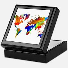 Design 33 Colorful World map Keepsake Box