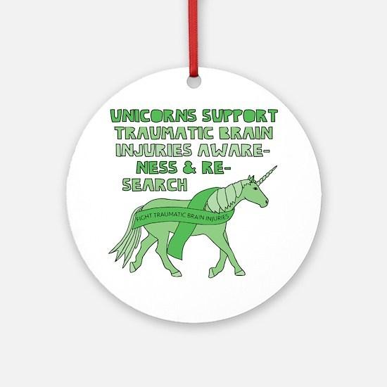 Unicorns Support Traumatic Brain In Round Ornament