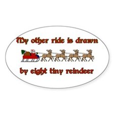 Drawn by Eight Tiny Reindeer Oval Decal