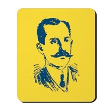 BLUE YELLOW PAINTED MUSTACHE Mousepad