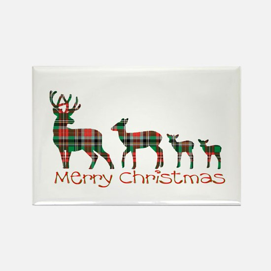 Merry Christmas plaid deer family Magnets