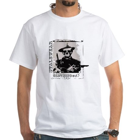 Old West Skull and revolvers White T-Shirt