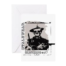 Old West Skull and revolvers Greeting Cards (Pk of
