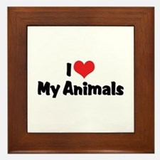 I Love My Animals Framed Tile