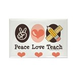Peace Love Teach Teacher Rectangle Magnet (10 pack