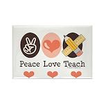 Peace Love Teach Teacher Rectangle Magnet (100 pac