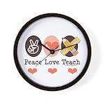 Peace Love Teach Teacher Wall Clock