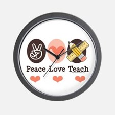 Peace Love Teach Teacher Wall Clock