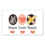 Peace Love Teach Teacher Rectangle Sticker