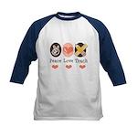 Peace Love Teach Teacher Kids Baseball Jersey
