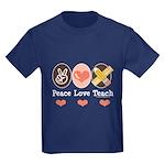 Peace Love Teach Teacher Kids Dark T-Shirt