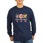Peace Love Teach Teacher Long Sleeve Dark T-Shirt