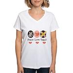 Peace Love Teach Teacher Women's V-Neck T-Shirt