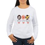 Peace Love Teach Teacher Women's Long Sleeve T-Shi