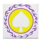 Flaming Spade Gambler Tile Coaster