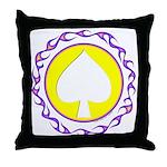 Flaming Spade Gambler Throw Pillow