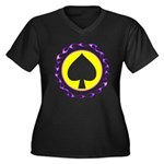 Flaming Spade Gambler Women's Plus Size V-Neck Dar