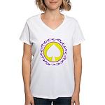 Flaming Spade Gambler Women's V-Neck T-Shirt