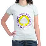 Flaming Spade Gambler Jr. Ringer T-Shirt