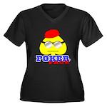 Poker Face (Spade) Women's Plus Size V-Neck Dark T