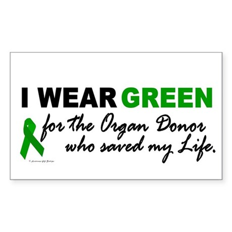 I Wear Green (Saved My Life) Rectangle Sticker