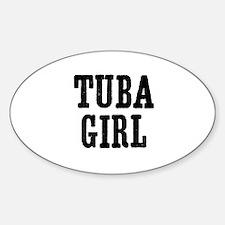 Tuba girl Oval Decal