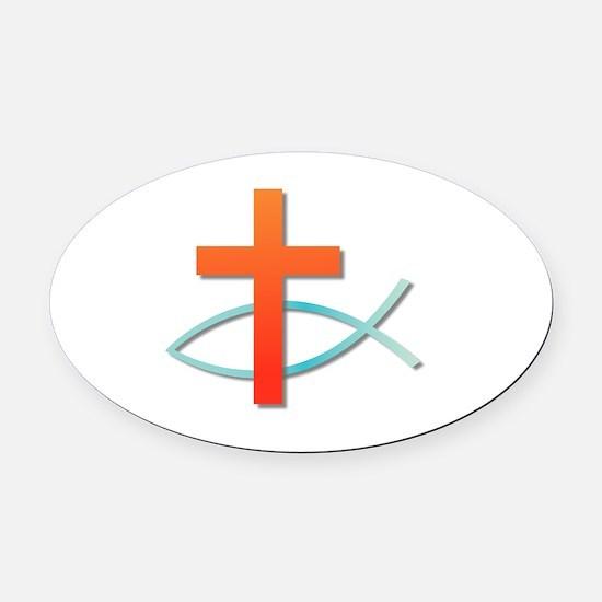 Unique Christian fish Oval Car Magnet