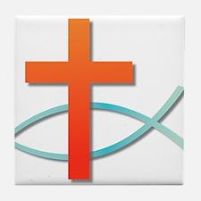 Christian cross fish Tile Coaster