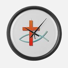 Christian cross fish Large Wall Clock